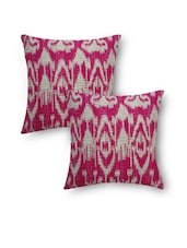 Pink Cotton Kantha Embroidered And Printed Cushion Cover Set - By