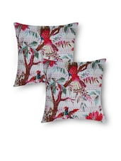White Cotton Kantha Embroidered And Bird Printed Cushion Cover Set - By