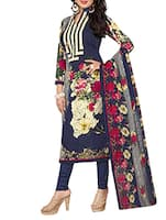 blue cotton printed churidaar suits dress material -  online shopping for Dress Material