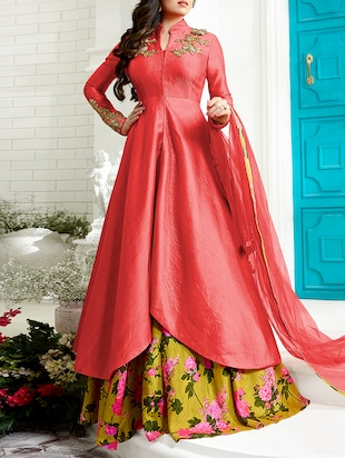 red art silk embroidered dress material