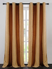 Gold Polyester Jacquard Dot Box Window Curtains - By