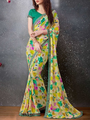 Green georgette printed saree