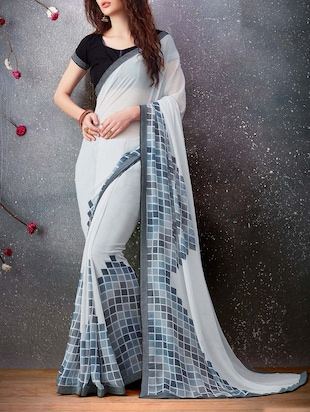 White georgette printed saree