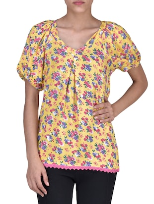 Yellow Rayon Printed Top
