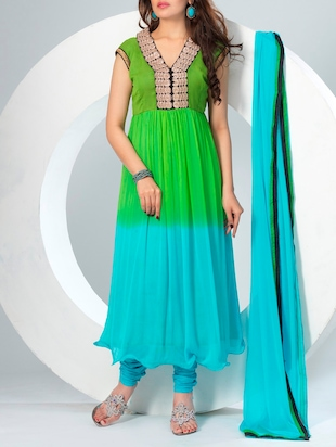green chiffon anarkali dress material