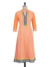 Printed Orange Cotton Anarkali Kurta - By