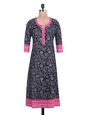 Floral Printed Black And Grey Cotton Anarkali Kurta - By