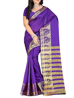 purple art silk woven saree