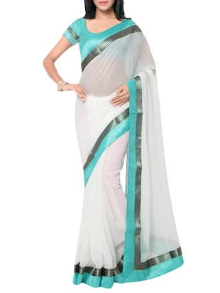 white chiffon bordered saree
