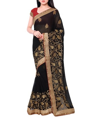 black chiffon embroidered saree