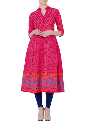 pink cotton flared  kurta