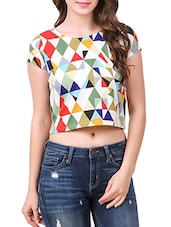multi colored poly crepe crop top -  online shopping for Tops