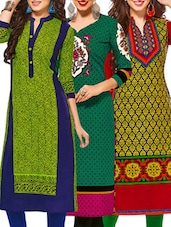 multi colored cotton printed combos unstitched kurtis -  online shopping for kurtis