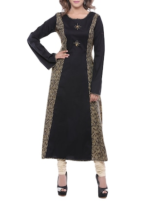 black cotton anarkali kurta -  online shopping for kurtas