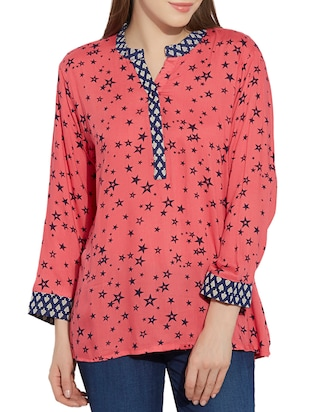 pink poly cotton regular top -  online shopping for Tops