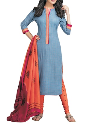 blue cotton churidaar suits dress material