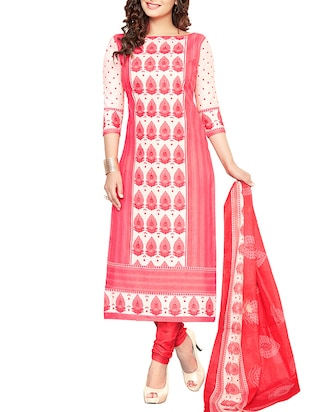 pink cotton churidaar suits dress material