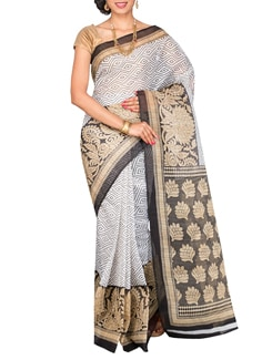 black poly cotton printed saree  available at Limeroad for Rs.299