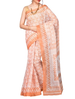 orange poly cotton printed saree  available at Limeroad for Rs.299