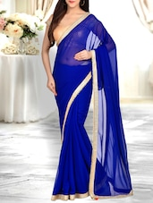 blue georgette embellished bordered saree -  online shopping for Sarees