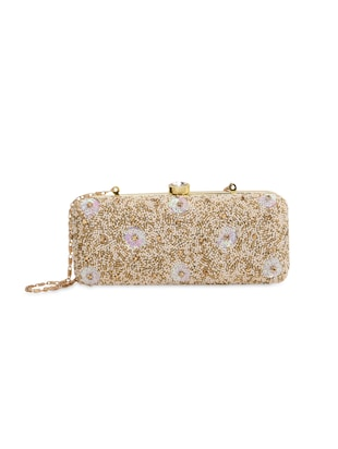 Beige and gold embellished box clutch