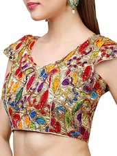 gold poly silk embellished blouse -  online shopping for Blouses