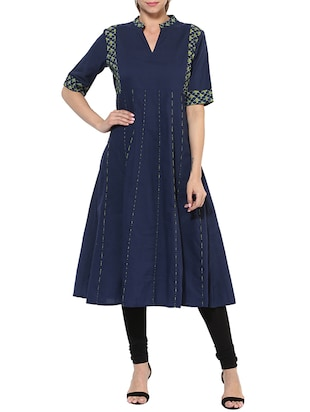 blue cotton printed anarkali kurta