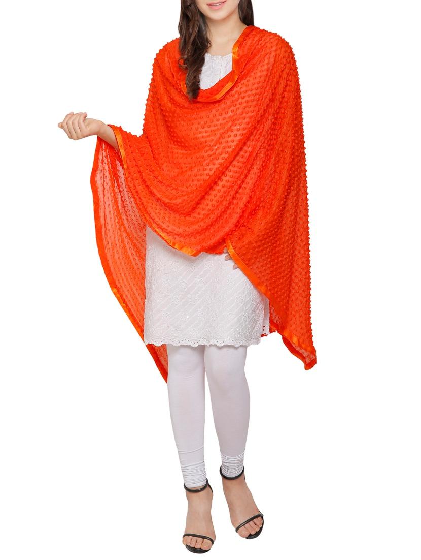 Orange Cotton Plain Dupatta - By