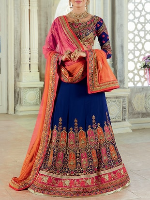 navy blue art silk flared lehenga