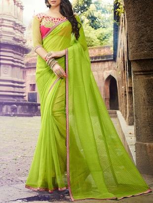 green net printed saree