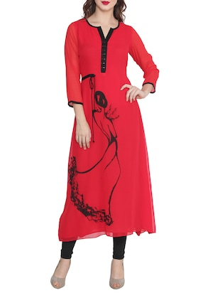 red poly georgette printed long kurta -  online shopping for kurtas