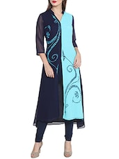 Blue Poly Georgette Printed Long Kurta - By