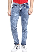 blue cotton blend jeans -  online shopping for Jeans