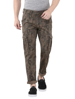 brown cotton camouflage casual trouser