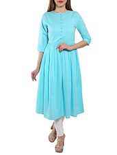 Turquoise Cotton Flared Kurta - By