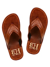 brown Leatherette toe seperator flip flop -  online shopping for Flip Flops