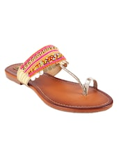pink faux leather one toe kolhapuris -  online shopping for Kolhapuris