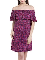 purple crepe off shoulder dress -  online shopping for Dresses