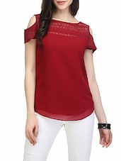 maroon cold shoulder top -  online shopping for Tops