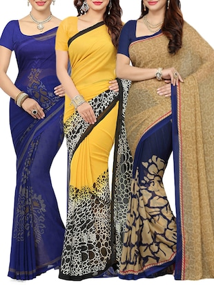 multi colored combos saree(set of 3)