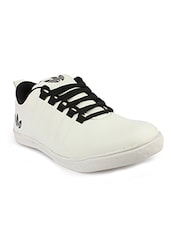white leatherette lace up sneaker -  online shopping for Sneakers