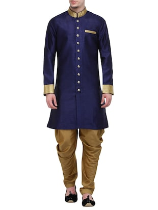 navy blue silk blend sherwani ethnic wear set