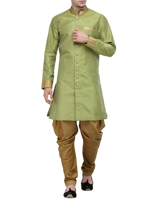 green silk blend ethnic wear set