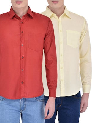 red yellow set of 2 cotton blend casual shirt
