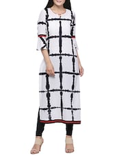 white cotton printed long kurta -  online shopping for kurtas