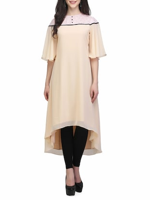 beige poly georgette highlow kurta