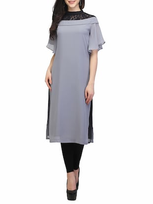 grey poly georgette straight kurta