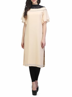 beige poly georgette straight kurta