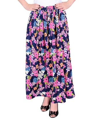 Multicolored rayon printed maxi skirt