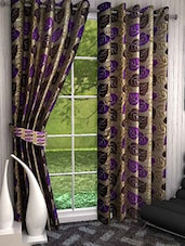 Brown Polyester Set Of 3 Printed Door Curtain - By